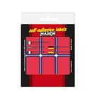 Confezione 10 fogli da 6 etichette autoadesive 70x37mm carta rossa
