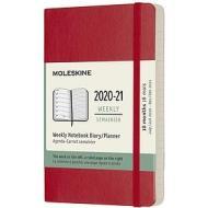 Moleskine 18 mesi - Agenda settimanale rosso scarlatto - Pocket copertina morbida 2020-2021