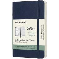 Moleskine 18 mesi - Agenda settimanale blu zaffiro - Pocket copertina morbida 2020-2021