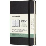 Moleskine 18 mesi - Agenda settimanale orizzontale nero - Pocket copertina rigida 2020-2021