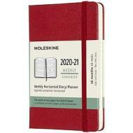 Moleskine 18 mesi - Agenda settimanale orizzontale rosso scarlatto - Pocket copertina rigida 2020-2021