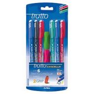 Confezione 6 penne colorate cancellabili Tratto Cancellik + 2 grip colorati