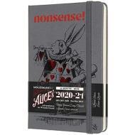 Moleskine 18 mesi - Agenda settimanale Limited Edition Alice in Wonderland grigio - Pocket copertina rigida 2020-2021