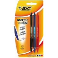 Confezione 3 penne a sfera Soft Grip colori assortiti