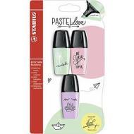 Confezione 3 evidenziatori Stabilo Boss Mini PastelLove verde rosa viola