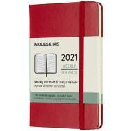 Moleskine 12 mesi - Agenda settimanale orizzontale rosso scarlatto - Pocket copertina rigida 2021