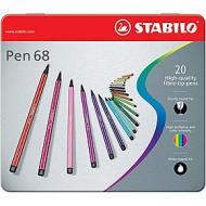Confezione 20 pennarelli Pen 68 con scatola in metallo