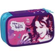 Astuccio triplo scomparto Violetta Disney completo con 43 pezzi