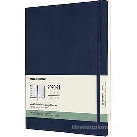 Moleskine 18 mesi - Agenda settimanale blu zaffiro - X-Large copertina morbida 2020-2021