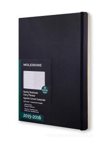 Moleskine 18 mesi - Agenda settimanale Notebook - ExtraLarge - Copertina morbida nera 2015-2016