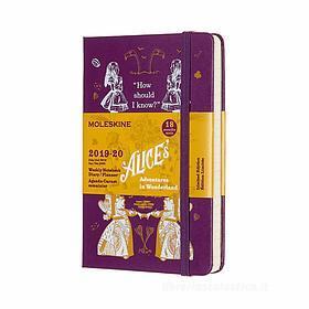 Moleskine 18 mesi - Agenda settimanale Limited Edition Alice in Wonderland viola - Pocket copertina rigida 2019-2020