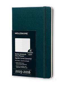 Moleskine 18 mesi - Agenda settimanale notebook – Large - Copertina rigida verde 2015 – 2016