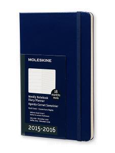 Moleskine 18 mesi - Agenda settimanale notebook – Large - Copertina rigida blu 2015 – 2016