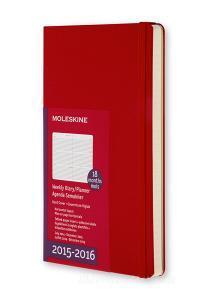 Moleskine 18 mesi - Agenda settimanale orizzontale - Pocket - Copertina rigida rossa 2015-2016