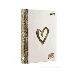 Diario agenda Luxury ME My Evolution 2020-2021 16 mesi. Bianco oro (simbolo cuore)