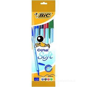 Confezione 4 penne a sfera Bic Cristal Soft colori assortiti