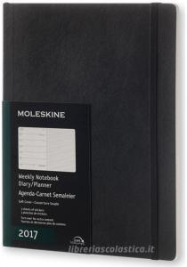 Moleskine 2017 12 mesi - Agenda settimanale nera - Extra Large Copertina morbida