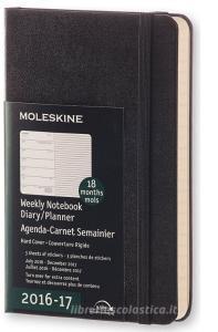 Moleskine 18 mesi - Agenda settimanale nera - Pocket Copertina rigida 2016-2017