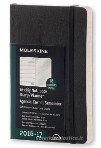 Moleskine 18 mesi - Agenda settimanale nera - Pocket Copertina morbida 2016-2017