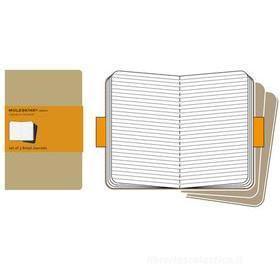 Moleskine pocket. Set 3 quadernetti a righe copertina kraft