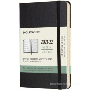 Moleskine 18 mesi - Agenda settimanale nero - Pocket copertina rigida 2021-2022