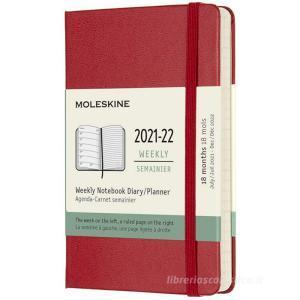 Moleskine 18 mesi - Agenda settimanale rosso scarlatto - Pocket copertina rigida 2021-2022