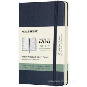 Moleskine 18 mesi - Agenda settimanale blu zaffiro - Pocket copertina rigida 2021-2022