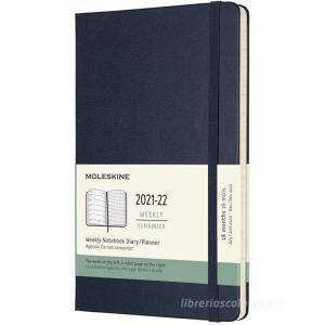 Moleskine 18 mesi - Agenda settimanale blu zaffiro - Large copertina rigida 2021-2022
