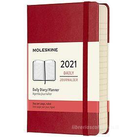 Moleskine 12 mesi - Agenda giornaliera rosso scarlatto - Pocket copertina rigida 2021
