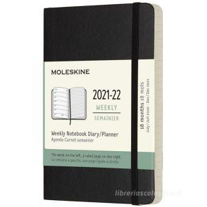 Moleskine 18 mesi - Agenda settimanale nero - Pocket copertina morbida 2021-2022