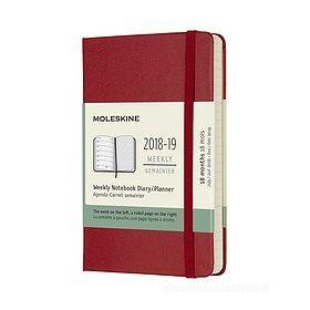 Moleskine 18 mesi - Agenda settimanale rossa - Pocket copertina rigida 2018-2019