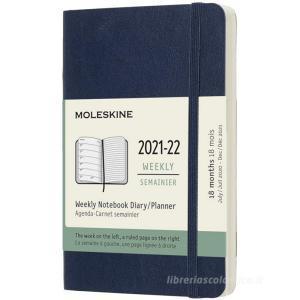 Moleskine 18 mesi - Agenda settimanale blu zaffiro - Pocket copertina morbida 2021-2022