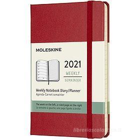 Moleskine 12 mesi - Agenda settimanale rosso scarlatto - Pocket copertina rigida 2021