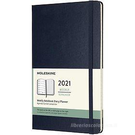 Moleskine 12 mesi - Agenda settimanale blu zaffiro - Large copertina rigida 2021