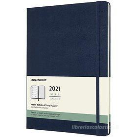 Moleskine 12 mesi - Agenda settimanale blu zaffiro - Extra Large copertina rigida 2021