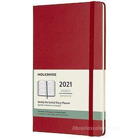 Moleskine 12 mesi - Agenda settimanale orizzontale rosso scarlatto - Large copertina rigida 2021