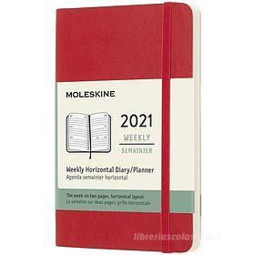Moleskine 12 mesi - Agenda settimanale orizzontale rosso scarlatto - Pocket copertina morbida 2021