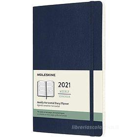 Moleskine 12 mesi - Agenda settimanale orizzontale blu zaffiro - Large copertina morbida 2021