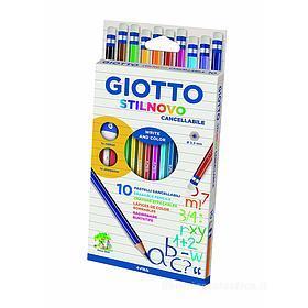 Confezione 10 pastelli cancellabili Giotto Stilnovo con temperamatite e gomma