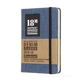 Moleskine 18 mesi - Agenda settimanale Limited Edition Denim blu - Pocket 2018-2019