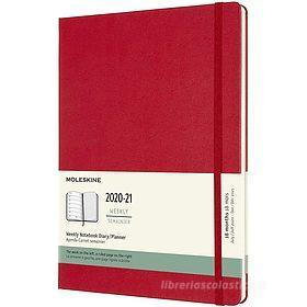 Moleskine 18 mesi - Agenda settimanale rosso scarlatto - X-Large copertina rigida 2020-2021