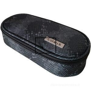Astuccio ovale organizzato Comix All Over. Texture rettile nero