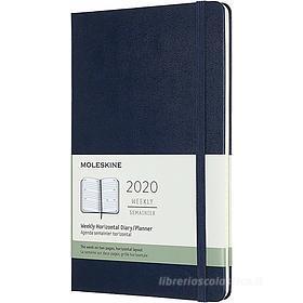 Moleskine 12 mesi - Agenda settimanale orizzontale blu - Large copertina rigida 2020