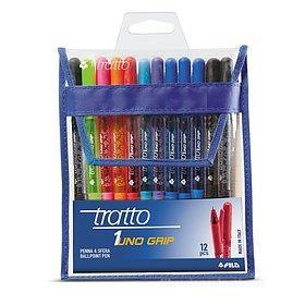 Confezione 12 penne a sfera colorate Tratto 1Uno Grip