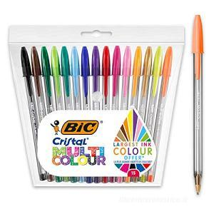 Confezione 15 penne a sfera Bic Cristal Multicolor colori assortiti